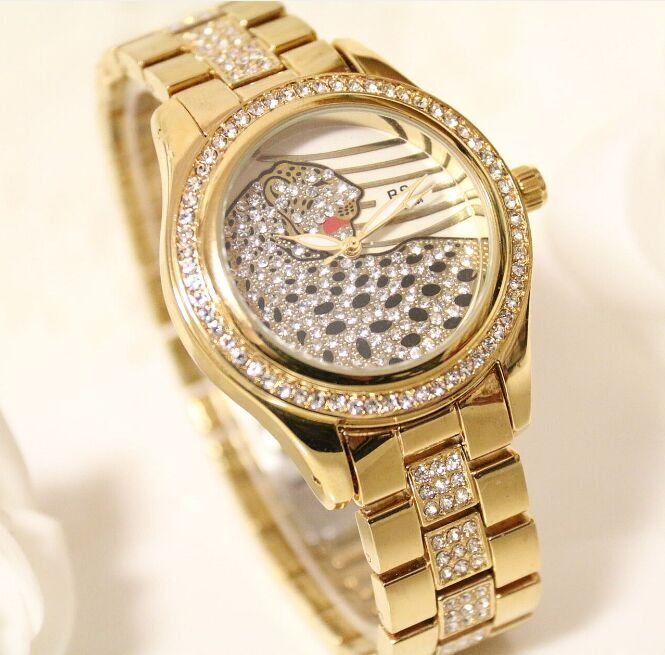 2016 New arrival Free Shipping High Quality brand Luxury Women Watch Lady Leopard DressWatch Rhinestone FullCrystal Bangle Watch