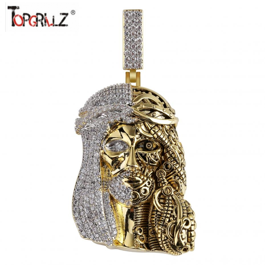 Iced Out Religious Ghost Jesus Head Pendant Necklaces Mens Hip Hop/Punk Charm Jewelry Cubic Zirconia Fashion Jewelry GiftsIced Out Religious Ghost Jesus Head Pendant Necklaces Mens Hip Hop/Punk Charm Jewelry Cubic Zirconia Fashion Jewelry Gifts