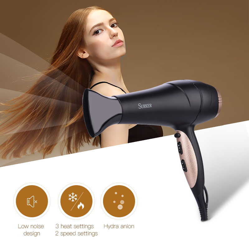 Professonial AC Motor Low Noise Electric Hair Dryer Blower Tube Nozzle Air Diffuser Heat Wind Collecting 2 Speeds Negative Ions stronger power low noise dog grooming dryer per hair dryer blower