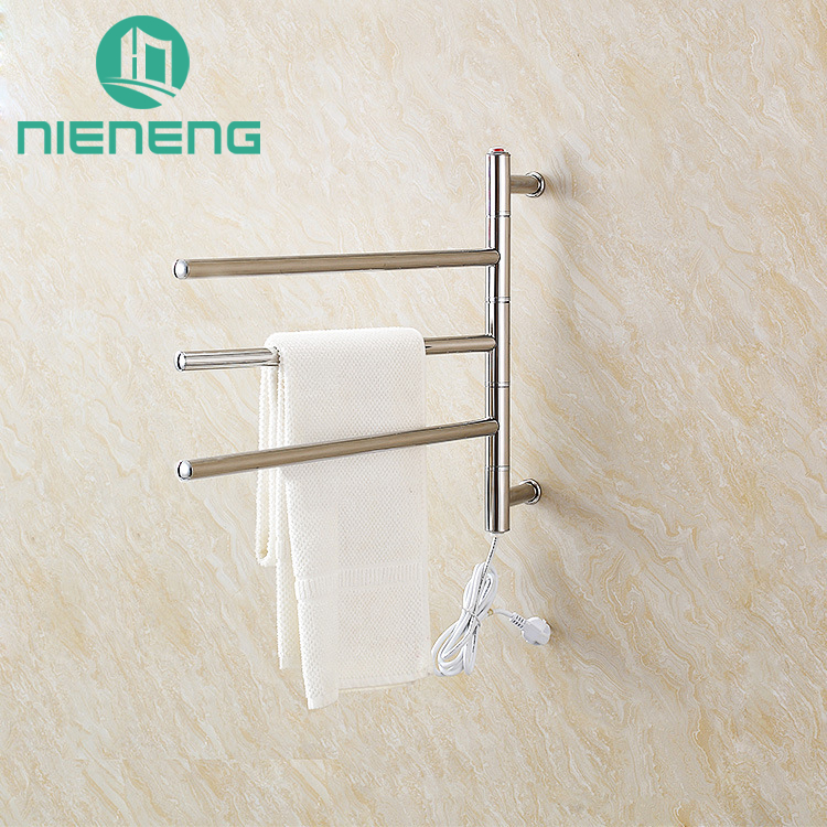 Nieneng Towel Warmers Rotate Electric Bathroom Towel Warmer 304 Stainless Steel Heating Towel Bars Hardware Washroom ICD60586 new multifunction intelligent thermostat baby double bottle warmers sterilizers thermal insulation heating egg milk warmer