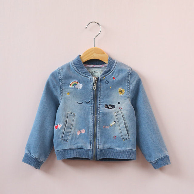 Y31386459 2017 Spirng Girl Jacket Jeans Embroidery Rainbow Flower Zipper Girl Outerwear Girl Coat Fashion Kids Clothes Denim