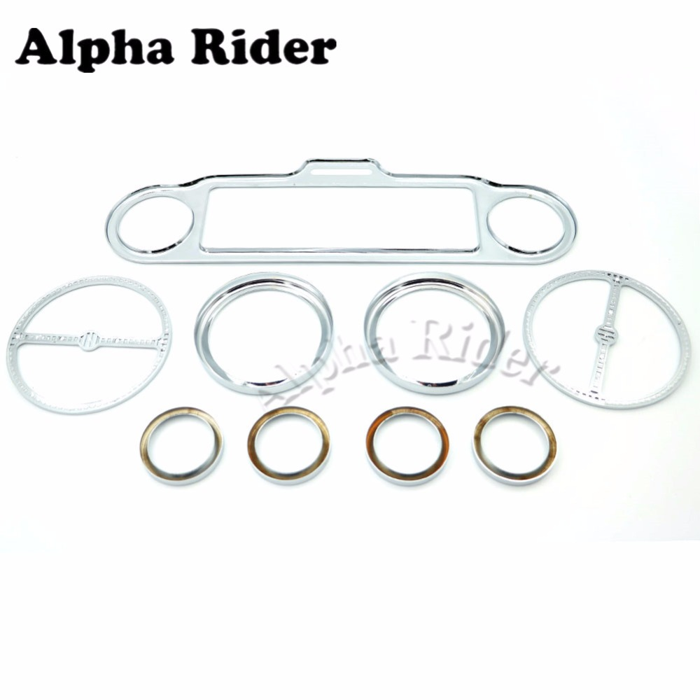 9 Pcs Stereo Accent Speedometer Gauges Bezels Horn Speaker Trim Ring Set for Harley Ultra Classic Touring Electra Models 1986-Up scooter parts 8pcs chrome speedometer gauges bezels and horn cover case for harley davidson touring free shipping