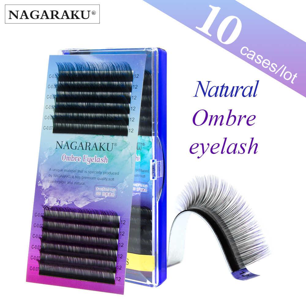 53d4920c65a NAGARAKU 10 cases Ombre Color Purple blue Gradient rainbow color Individual  eyelashes 0.07C eyelash extensions