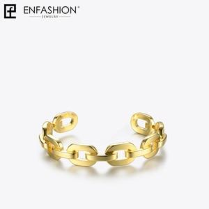 Image 3 - Enfashion Zuivere Vorm Medium Link Chain Manchet Armbanden & Armbanden Voor Vrouwen Goud Kleur Mode sieraden Sieraden Pulseiras BF182033