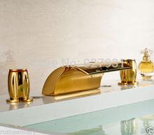 Современная Мода Ванная Комната Широкое Водопад Ванной Смеситель для раковины Кран Золотой Цвет Бассейна Кран с Двумя Ручками