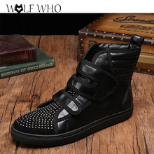 New Dandelion Spikes Black Genuine Leather Isabel Rivets Men Military Cowboy Boots Rhinestone Dress Shoes Casual Smoking Shoes