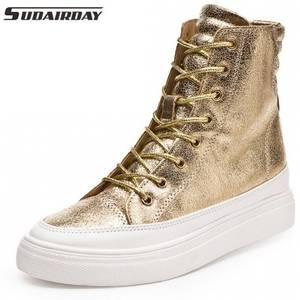 0e27850a7281 Fashion Shoes Women High Heel Wedges High Top Punk Ladies Split Leather  Wedge Platform Shoes Gold Silver Black