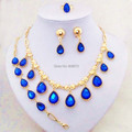 Gold Plated Blue Crystal Drop Jewelry Sets Elegant Wedding Necklace Sets