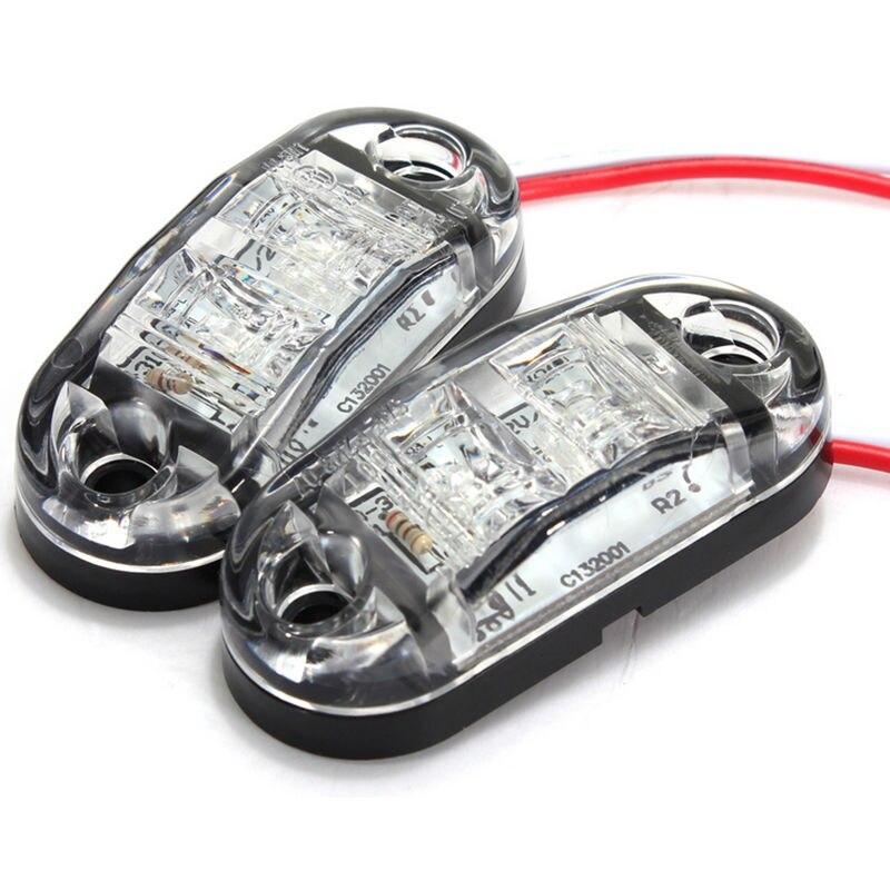 2 pces 12 v conduziu a luz lateral da cauda do marcador do carro cor branca 24 v lâmpada do caminhão do reboque 4 pces parafusos