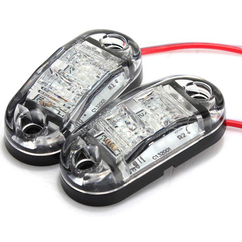 2Pcs 12V LED Car Side Marker Tail Light White Color 24V Trailer Truck Lamp 4 Pcs Screws