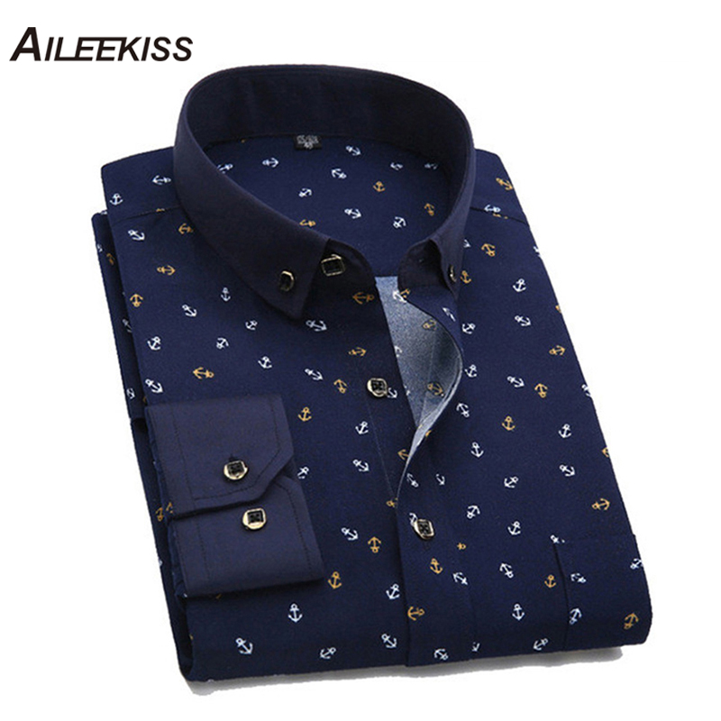 2019 Printed Men Long Sleeve Casual Men's Shirts Summer Autumn Spring Male Dress Shirts Cool Man New Fashion Plus Size Top XT401