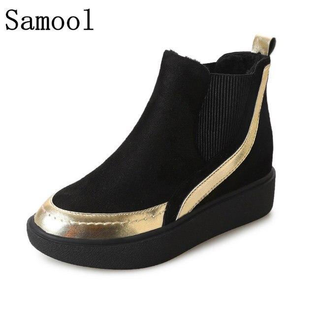 Резиновая Сапоги и ботинки для девочек 2017 зимние кожаные женские ботильоны Эластичная лента одноцветное Цвет повседневная обувь Туфли без каблуков каблук Женская обувь