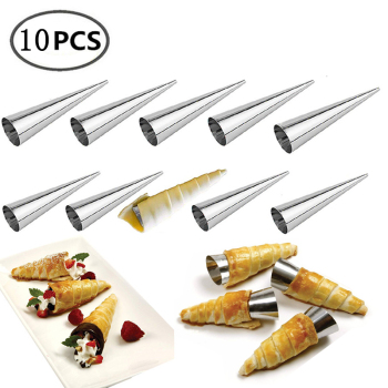 10Pcs Conical Tube Cone Roll Moulds Spiral Croissants Molds Cream Horn Mould Pastry Mold Cookie Dessert Home Kitchen Baking Tool Bakeware
