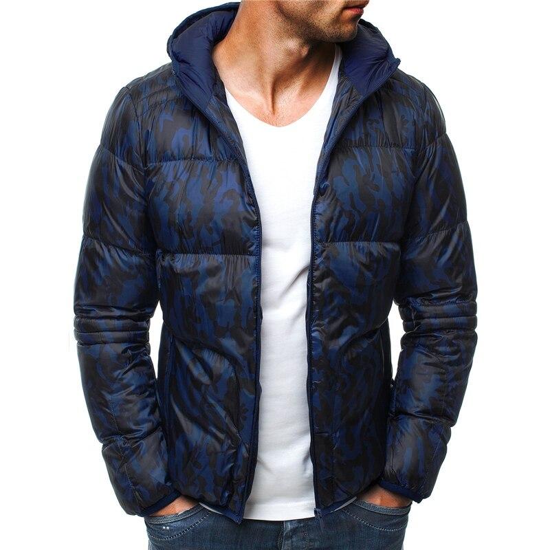 ZOGAA Winter Men Fashion   Parka   Men Cotton Printed Overcoat Male Zipper Hooded   Parka   Men Slim Fit Overcoat 2019 New