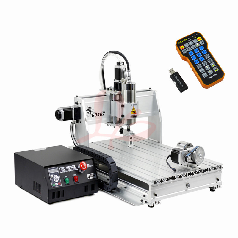 Don't need pay tax to EU country,new 4 axis cnc 6040 router engraver machine with mach3 remote control free tax to eu high quality cnc router frame 3020t with trapezoidal screw for cnc engraver machine