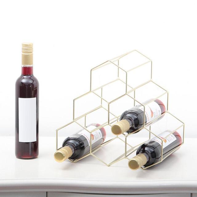 Modern High End Triangular Iron Golden Metal Wine Rack Holder Bar New House Cabinet