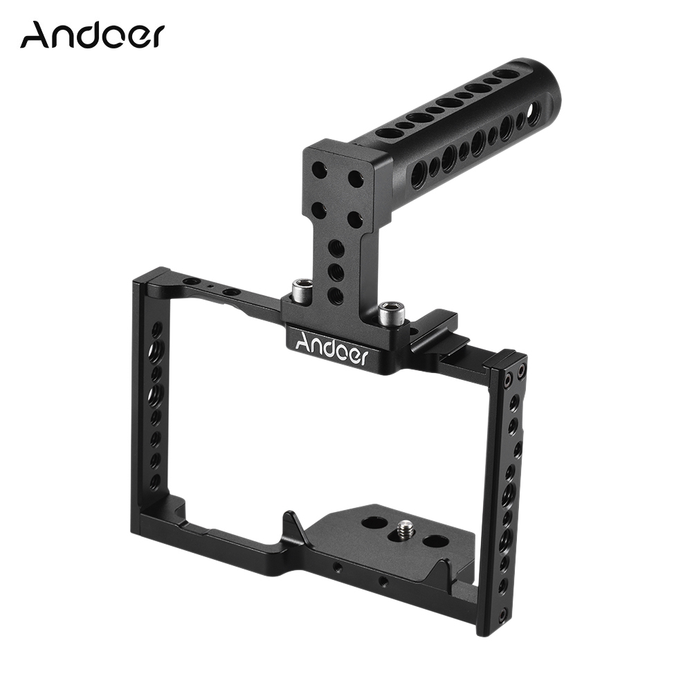 Andoer Aluminum Alloy Camera Cage + Top Handle Kit Video Film Movie Making Stabilizer System for Panasonic CH5 Camera
