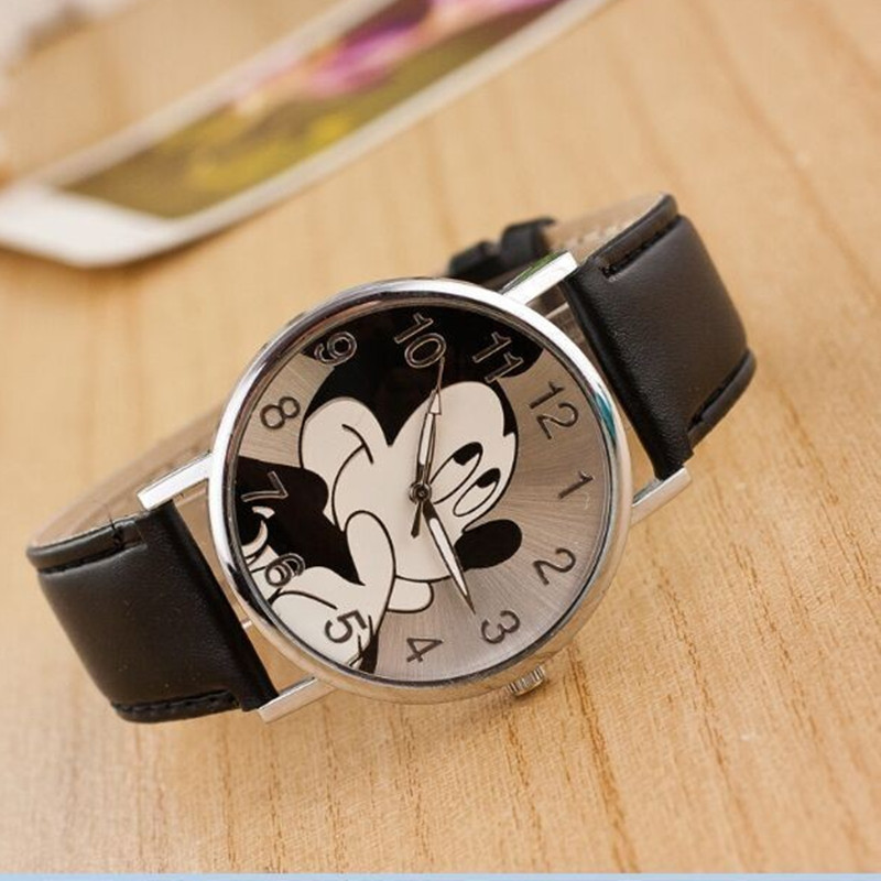 Fashion Mickey Women watch luxury brand cartoon girl boy leisure clock leather quartz watch Relogio Feminino hot Gift цена