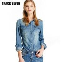 PARÇA YEDI Benzersiz Kadınlar Denim Gömlek Z3263 Büyüleyici Rahat Uzun Kollu Kadın Bahar Gömlek En Iyi Hediye