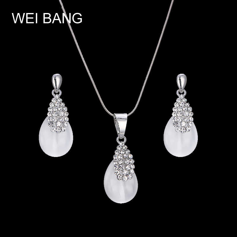 Popular Elegant Silver Color White Imitation Pearls Jewelry Set For Women Pendant Necklace & Earrings Engagement Gift