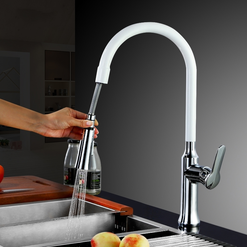White 2 function Brass Singel Lever High Arc Pull Down Kitchen Faucet with Retractable Pull Out