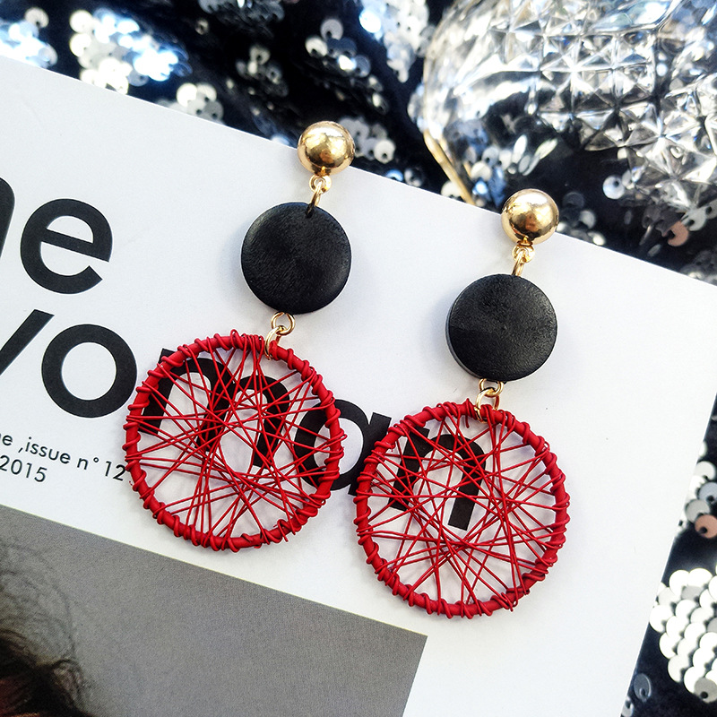 light luxury fashion elegant girl bright color iron wire Dream Catcher round pendant sexy Big Stud Earring Women jewelry girl