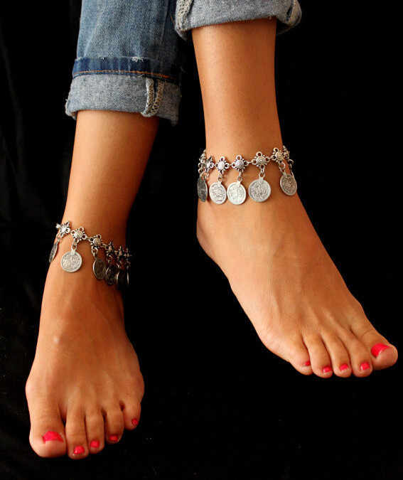 Flower Child Silver Coin Anklet. Adjustable Handmade floral design Boho Gypsy Beachy Ethnichwomen anlkets