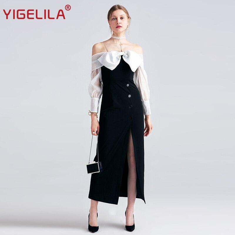 YIGELILA 2019 Women Black Long Dress Fashion Sexy Slash Neck Off Shoulder Full Sleeve Bow Split