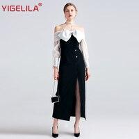 YIGELILA 2017 Latest New Women Summer Dress Fashion Sexy Slash Neck Off Shoulder Bow Split Black