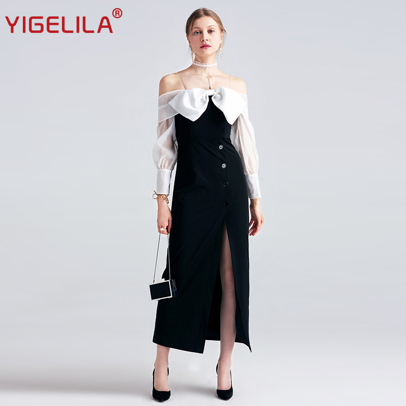 YIGELILA 2019 Wanita Hitam Gaun Panjang Mode Sexy Slash Leher Off Shoulder Penuh Lengan Bow Berpisah Lantai Panjang Party Dress 6980