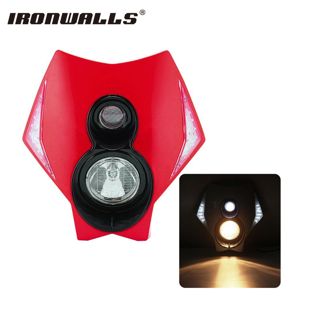 Ironwalls Red Motorcycle LED Headlight Fairing Kit Universal For Honda Yamaha KTM Dirt Bike Offroad Dual Sport Supermoto Scooter envy ats dirt scooter red brand new complete