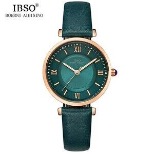 Image 2 - IBSO relojes de marca para Mujer, correa de cuero genuino 2020 verde, de cuarzo de lujo, femenino
