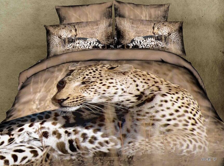 3d 4pcs Leopard Bedding Set Beding Set Resting Printing