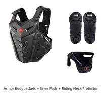 Новый комплект для езды на велосипеде, снаряжение для езды на велосипеде, бронежилет для езды на велосипеде + наколенники + защита для шеи