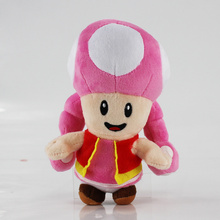 1pc 18cm Game Character Cartoon Super Mario Mushrooms Toad Pink Plush Toys Stuffed Kids Gift Dolls With Sucker