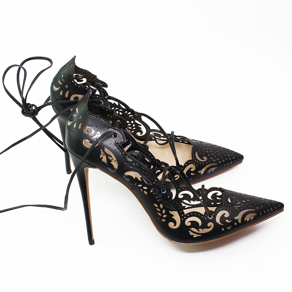 THEMOST Fashion Women Work Pumps Plus Size Laser Cut Lace up High Heel Dress Shoes for Office Lady