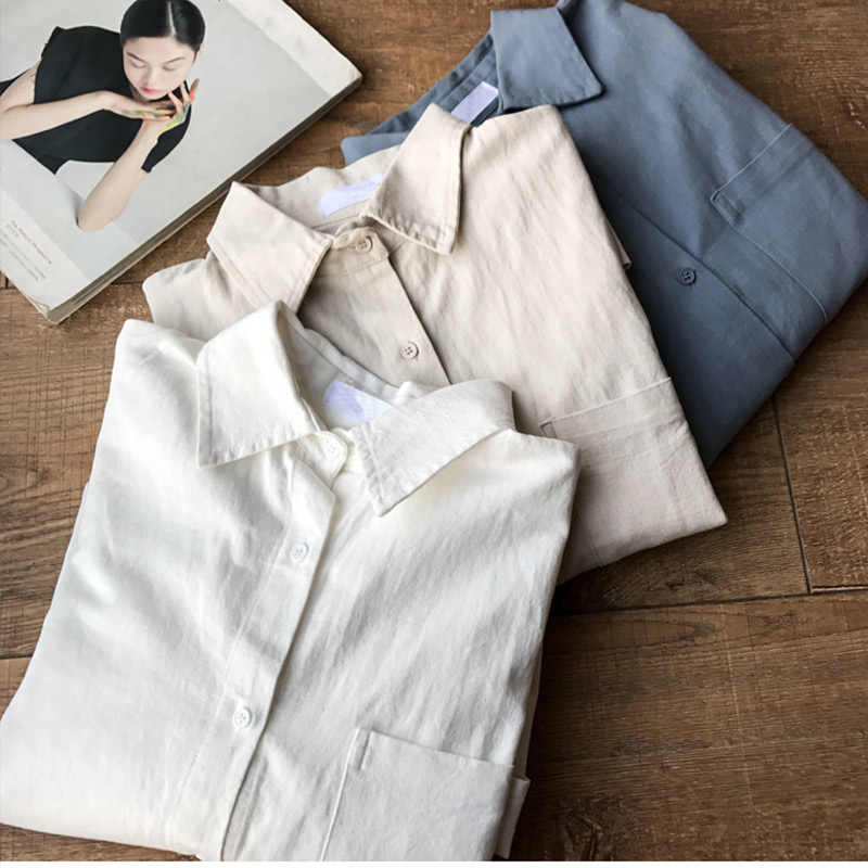 כותנה פשתן גדול נשים חולצה למעלה מוצק לבן ארוך שרוול משרד ליידי חולצות נקבה קיץ תורו למטה צווארון רופף חולצות