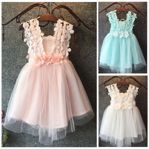Baby flower Kids girl dress Princess Lace Tulle Tutu Backless Gown Formal Party Dress Mint Pink White 2-7Y(China)