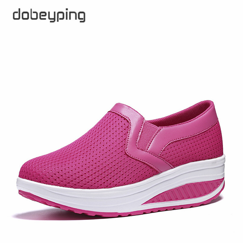 Image 3 - Women's Swing Shoes Air Mesh Woman Loafers Flat Platforms Female Shoe Casual Wedges Ladies Shoes Height Increasing Footwear-in Women's Flats from Shoes