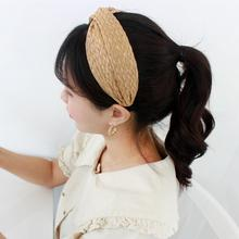 Korean Temperament Handmade Straw Headband Hairpin Headwear Sleek Minimalist Wide-brimmed Fresh