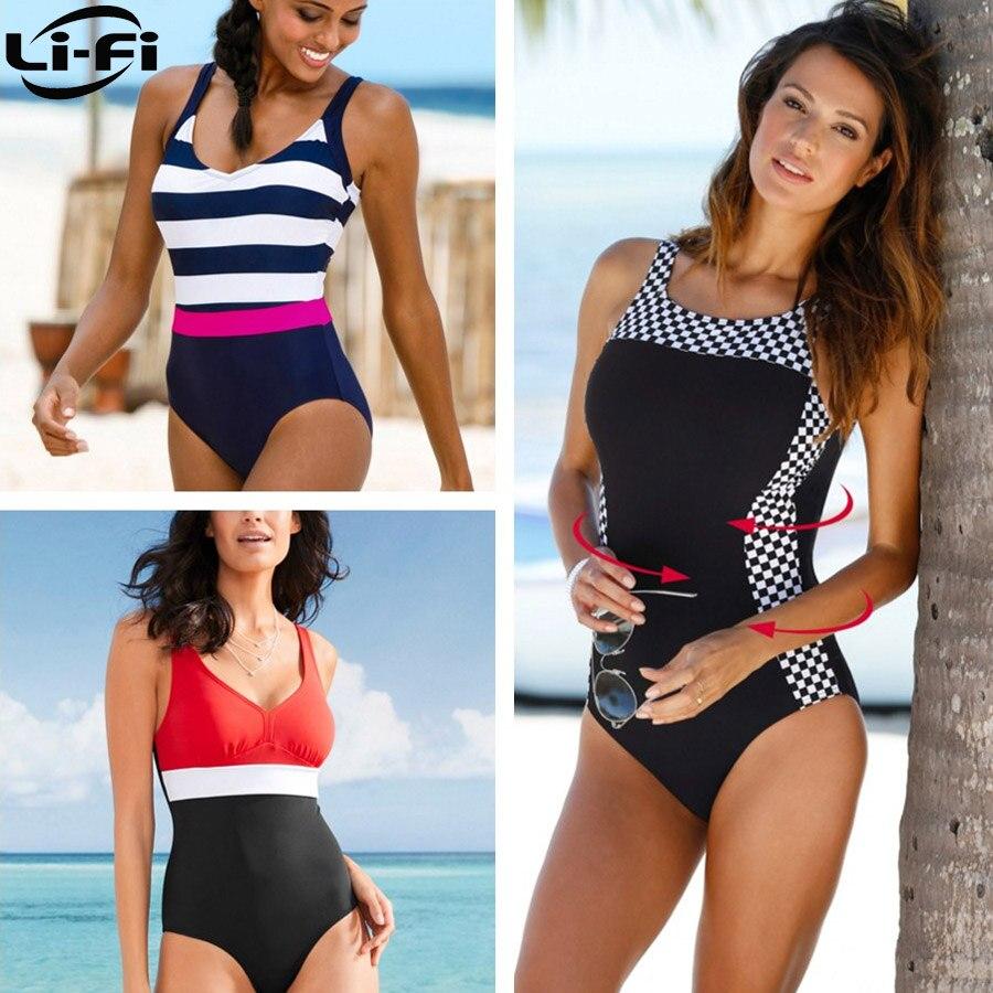 LI FI 2019 New One Piece Swimsuit Plus Size Swimwear Women Classic Vintage Bathing Suits Beachwear Backless Slim Swim Wear M 2XL in Body Suits from Sports Entertainment