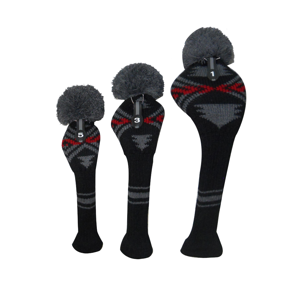 Black red grey color abstract pattern knit golf club head cover black red grey color abstract pattern knit golf club head cover set of 3 for driver wood 460cc fairwayhybrid in golf clubs from sports entertainment bankloansurffo Gallery