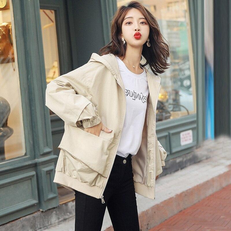 Nowy Plus rozmiar kobiety płaszcz 2019 wiosna jesień odzież damska na co dzień z kapturem krótki wykop płaszcz kobiet szczupła cienka odzież wierzchnia v821 w Trencze od Odzież damska na  Grupa 2