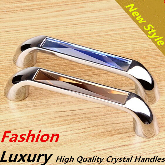 96mm Fashion Luxury Brown Blue Green K9 Crystal handle shiny silver kitchen cabinet dresser wardrobe furniture door handles pull entrance door handle solid wood pull handles pa 377 l300mm for entry front wooden doors