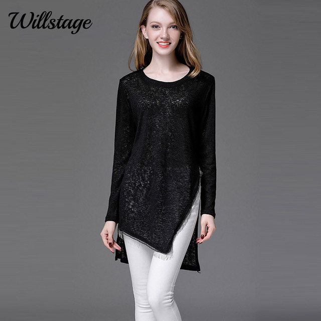 Willstage 4XL Plus size Long T-Shirt Women Long Sleeve Side Split Irregular  Tassel Shirts Knitted Tops 2018 Spring Oversize top 3fb02bcbadc0