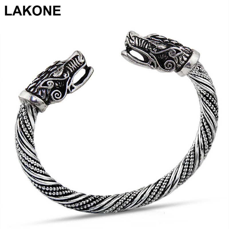 LAKONE Teen Wolf Head Bracelet Indian Jewelry Fashion Accessories Viking Bracelet Men Wr ...