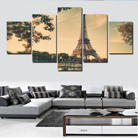 Unframed 5panels The Eiffel Tower Panel Hd Modern Oil Painting By Numbers Home Decoration Canvas Wall