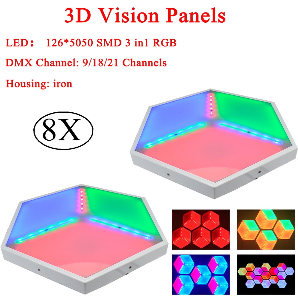 Free Shipping 8Pcs/Lot NEW LED Stage Light RGB 3IN1 3D Vision Panels Effect Lights For Party Disco Club DJ Light Show free shipping 8pcs lot mini 6 3w rgb 3in1 waterproof remote control led par light christmas lights outdoor projector