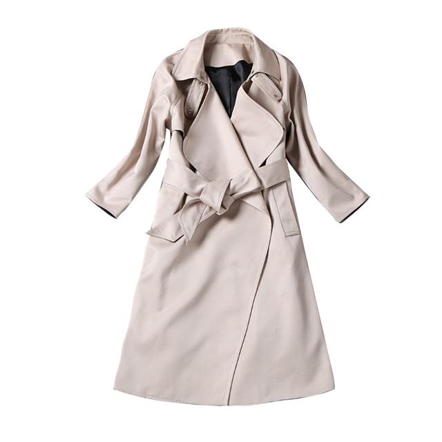 De alta Calidad! 2016 Nueva Otoño Invierno Mujeres Trench Coat Cinturón Grande Gira el Collar Abajo Mujeres Con Estilo Largo Trench Coat Albaricoque S-XL