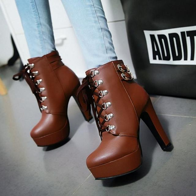 Autumn Winter Women Round Toe Ankle High Heels Lace Up Boots